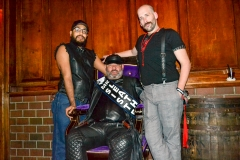 Our contestants, Boy Allen and Daddy B'rrr pose with Mister Sister Leather SA 2017, Cat Artemis.